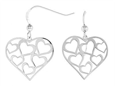 Sterling Silver Cut Out Heart Earrings