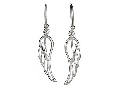 Sterling Silver Cut Out Wing Earrings