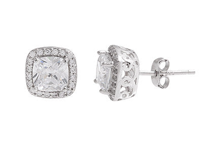 Sterling Silver CZ Square Studs