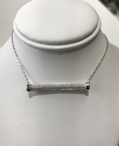 Sterling Silver Round CZ Bar Necklace