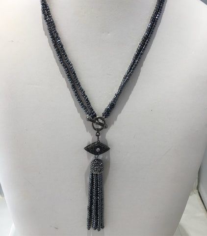 Hematite Beaded Evil Eye Tassel