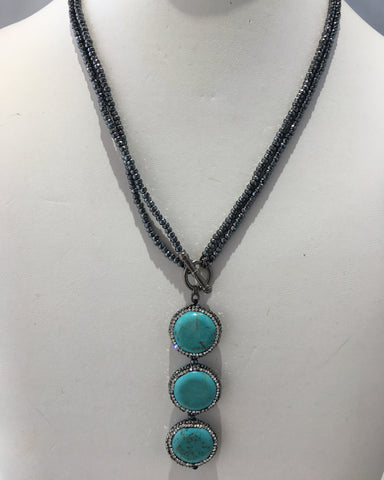 Hematite Beaded Turquoise Drop