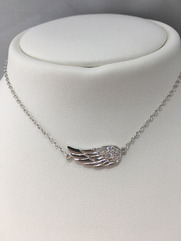Sterling Silver CZ Angel Wing Necklace