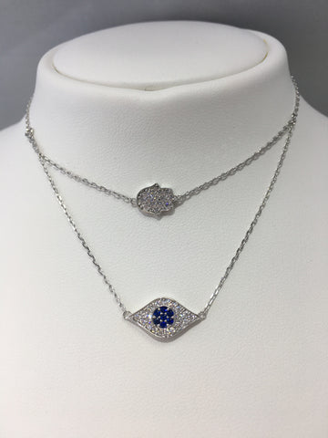Sterling Silver CZ Hamsa & Evil Eye Necklace