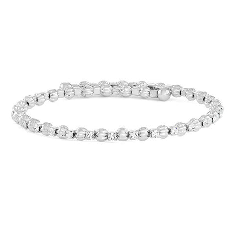 Silver Beaded  CZ Bangle Cuff Bracelet