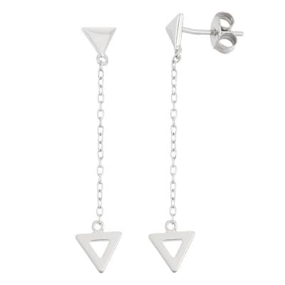 Sterling Silver Dangle Triangle Earrings