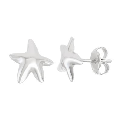 Sterling Silver Shiny Starfish Stud Earring