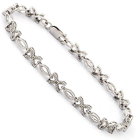Sterling Diamond X Bracelet