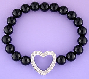 Black Onyx Diamond Heart Bracelet