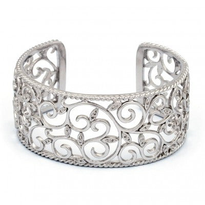 Sterling Diamond Cuff Bracelet