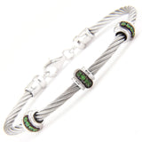 Stainless Steel Gem Rondel Bangle