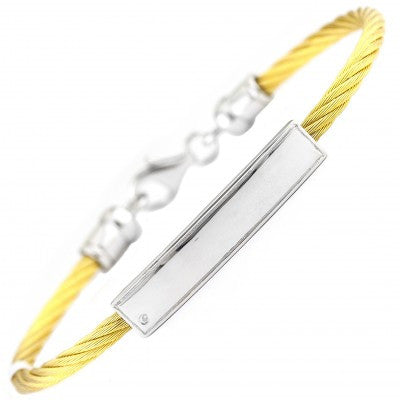 Stainless Diamond Bar Bangle