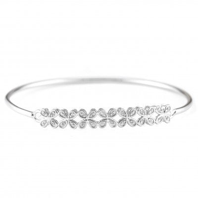 Sterling Silver & Diamond Flower Bracelet