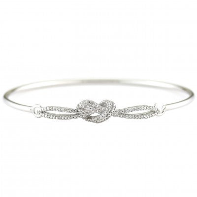 Sterling Diamond Heart Bangle