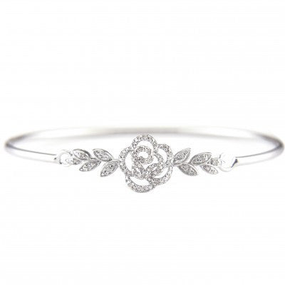 Sterling Diamond Rose Bangle