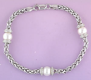 Sterling Diamond & Pearl Bracelet
