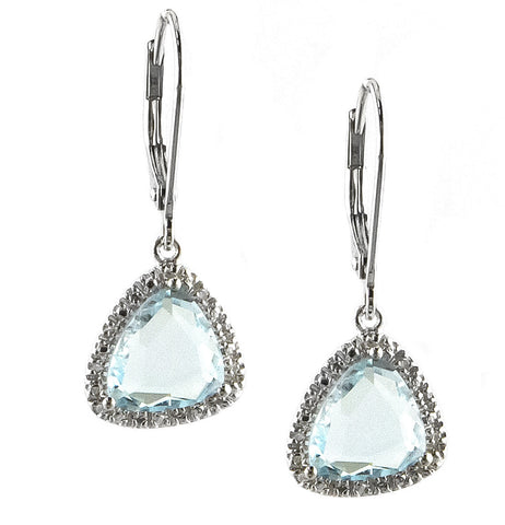 Diamond Blue Topaz Drop Earring