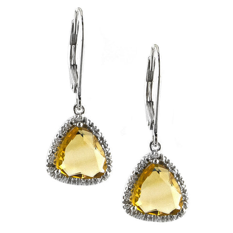Sterling Silver Diamond Citrine Earring