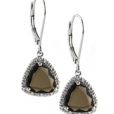 Sterling Silver Earrings With Smokey Quartz Drop