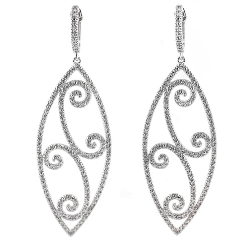 Diamond Marquis Shaped Swirl Earrings