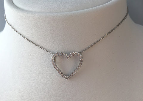 14k Open Heart Daimond Pendant