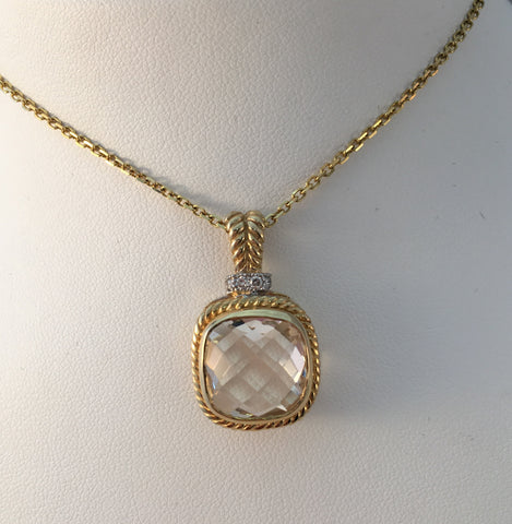 14k Yellow Gold White Topaz Pendant