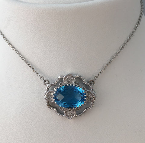 14k White Gold Diamond & Blue Topaz