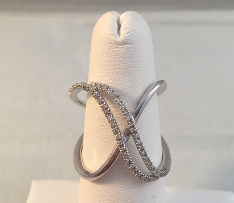 14k White Gold Diamond Double X Ring