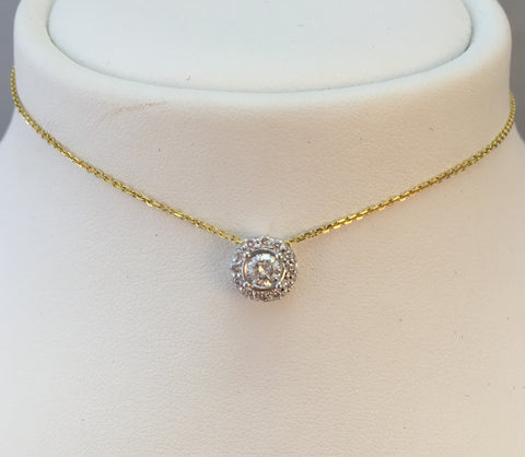 14k Two Tone Diamond Necklacev