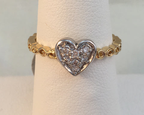 14k Yellow Gold Pave Heart Ring