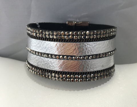 Silver Leather Bling Bracelet