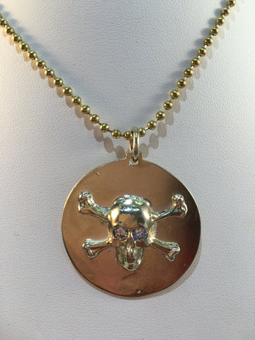 Sterling Silver Gold Plated Handmade Skull & Crossbones