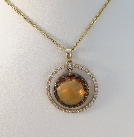 14k Yellow Diamond Citrine Pendant