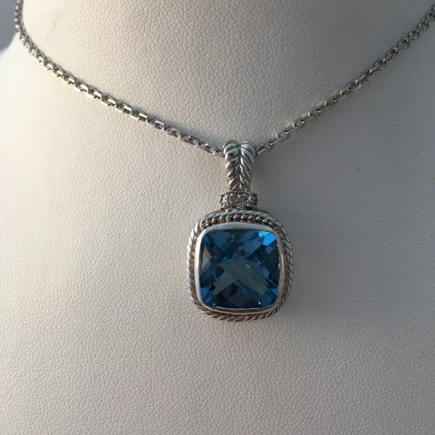 14k White Gold Large Blue Topaz