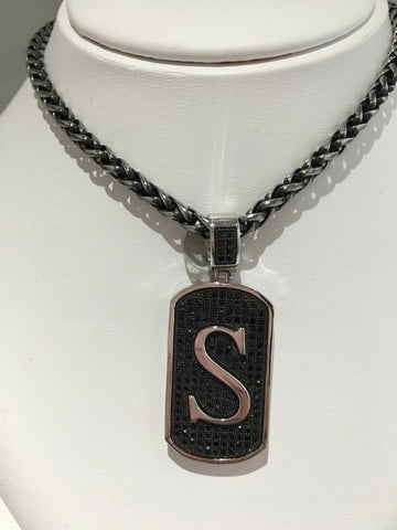 Dog Tag Black CZ Letter S