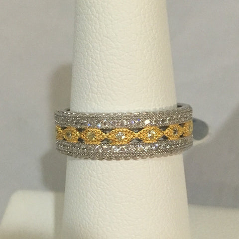 Sterling Silver CZ Travel Wedding Band