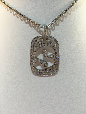 14k White Gold Diamond S Dog Tag