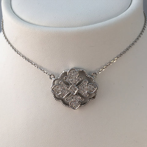 14k White Gold & Diamond Crest Necklace