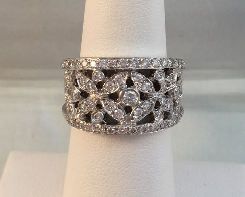 14k White Gold Diamond Wide Band.