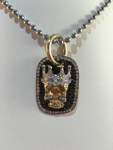 14k Yellow Gold Diamond Skull Dog Tag