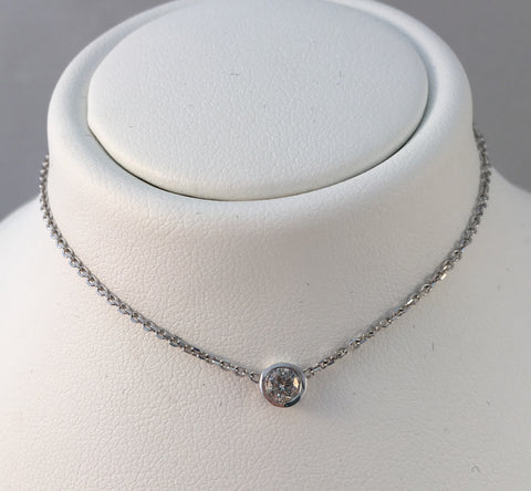 14k White Gold Bezel Set Diamond Necklace