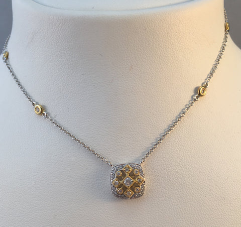 14k Two Tone Square Diamond Necklace