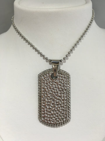 Stainless Steel Textured Dog Tag