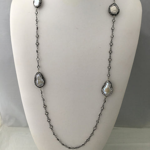 Long Pearl Swarovski Crystal Necklace