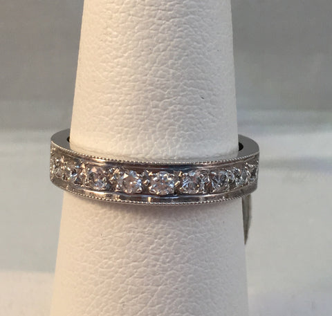 14k White Gold & Diamond Band