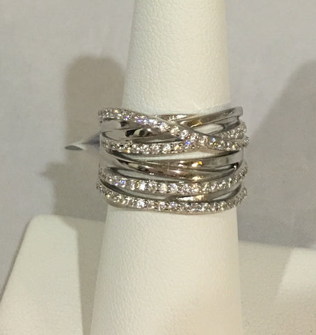Sterling Silver CZ Multi Row Ring