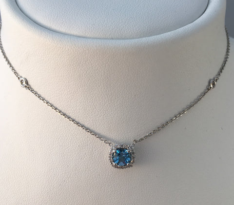 14K White Gold Blue Topaz & Diamonds