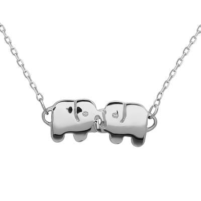 Sterling Double Elephant Necklace