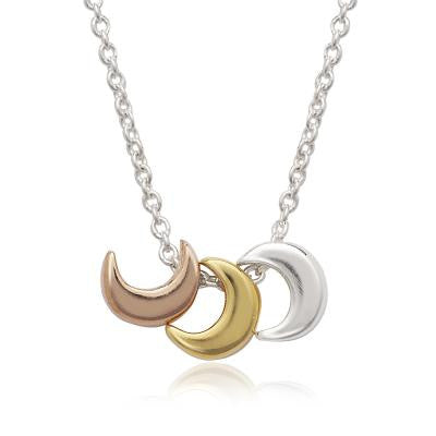 Sterling Three Moon Necklace