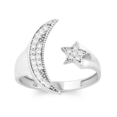 Sterling Silver CZ Moon & Star Ring